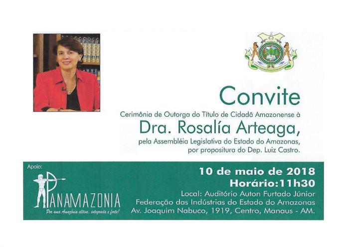 Invitación a la entrega del título de Ciudadana del Amazonas a Rosalia Arteaga