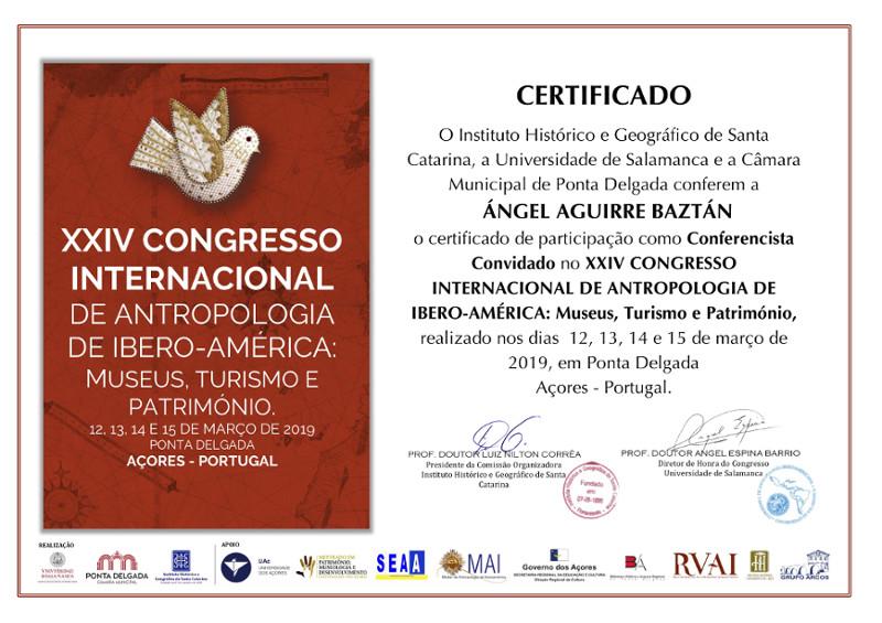 Certificado de participación congreso internacional antropología Ángel Aguirre Baztán